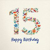 Happy birthday 15 fifteen years flower decoration. Happy Birthday 15 fifteen years design with number made of colorful spring flowers and animals on paper Royalty Free Stock Photo