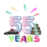 Happy Birthday fifty five 55 year. Vector illustration Stock Images