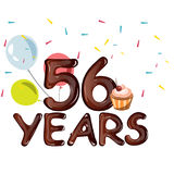 Happy Birthday fifty six 56 year. Vector illustration Royalty Free Stock Photos