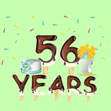 Happy Birthday fifty six 56 year. Vector illustration Stock Photography