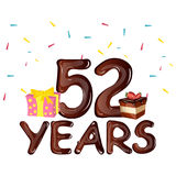 Happy Birthday fifty two 52 year greeting card. Vector illustration Royalty Free Stock Photo
