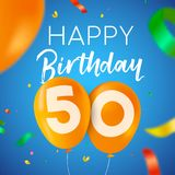 Happy birthday 50 fifty year balloon party card. Happy Birthday 50 fifty years fun design with balloon number and colorful confetti decoration. Ideal for party Stock Photography