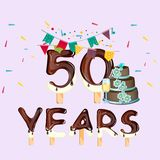 Happy Birthday fifty 50 year card. Vector illustration Royalty Free Stock Photography