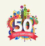Happy birthday 50 year spanish greeting card. Happy Birthday fifty 50 year fun design with number in spanish language. Text label and colorful geometry element Royalty Free Stock Photos