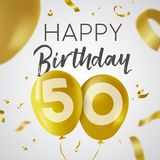 Happy birthday 50 fifty year gold balloon card. Happy Birthday 50 fifty years, luxury design with gold balloon number and golden confetti decoration. Ideal for Stock Photography