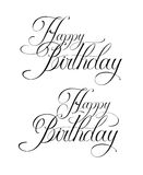 Happy Birthday. Fine line vector calligraphy lettering. Happy birthday Royalty Free Stock Photography