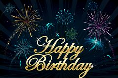 Happy Birthday Firework. Illustration of happy birthday text on firework backdrop Stock Images