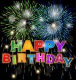 Happy birthday with fireworks background. Design illustration Royalty Free Stock Photo