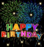 Happy birthday with fireworks background. Design illustration Royalty Free Stock Photography