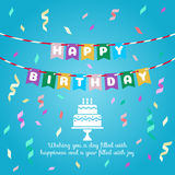 Happy birthday - flag and cake sign and ribbon party on blue background vector design Stock Images