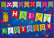 Happy birthday. On flags with gift Royalty Free Stock Photo