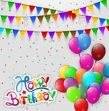 Happy Birthday flags party with transparent balloons Royalty Free Stock Image