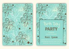 Happy birthday on floral background in colorful theme. Royalty Free Stock Image