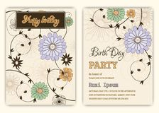 Happy birthday on floral background in colorful theme. Royalty Free Stock Images