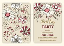 Happy birthday on floral background in colorful theme. Stock Image