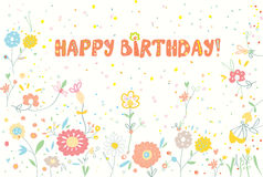 Happy birthday floral banner cute Royalty Free Stock Image