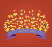 Happy birthday floral card - bright design Royalty Free Stock Photos