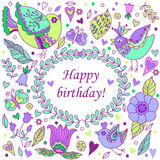 Happy birthday floral frame. With birds, doodle invitation background and greeting card. Vector illustration. There is in addition a vector format (EPS 8 Stock Photo