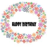 HAPPY BIRTHDAY in floral frame. Stock Photos