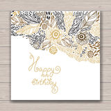 Happy birthday floral frame Stock Images