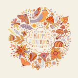 Happy birthday floral frame, vector doodle invitation background. Royalty Free Stock Images
