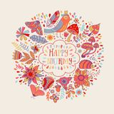 Happy birthday floral frame, vector doodle invitation background. Stock Photography
