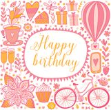 Happy birthday floral frame, vector doodle invitation background. Greeting card Stock Photo