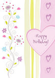 Happy birthday floral greeting card Royalty Free Stock Image