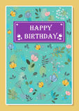Happy birthday. Floral greeting card Stock Photos
