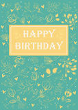 Happy birthday. Floral greeting card Stock Images