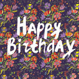 Happy birthday floral greeting card Royalty Free Stock Images