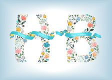 Happy Birthday. Floral Letters with Blue Ribbons Stock Image