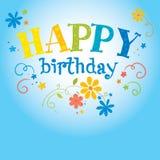 Happy Birthday Flower. Illustration - background with little flowers on birthday stock illustration