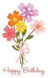 Happy Birthday flower bouquet vector illustration