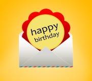 Happy Birthday. Birthday flower envelope. Happy Birthday Stock Image