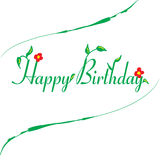 Happy Birthday Flower Word. Happy Birthday word designed with leaf and flower Royalty Free Stock Photo