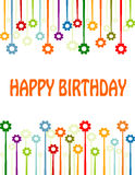 Happy birthday flowers. Hand lettered Happy Birthday card with flowers Stock Images