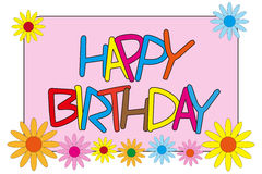Happy Birthday with Flowers Royalty Free Stock Photos