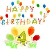 Happy Birthday four Stock Photos
