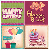 Happy birthday. Four different backgrounds with text, balloons and cakes for a happy birthday Stock Images
