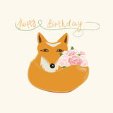 Happy Birthday fox greeting card design Royalty Free Stock Image
