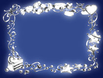 Happy birthday frame - blue. Frame of sweets, berries, ribbons and a piece of birthday cake Royalty Free Stock Images