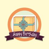 Happy birthday frame with gift box. Vector illustration design Royalty Free Stock Images
