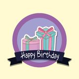 Happy birthday frame with gift box. Vector illustration design Stock Photography