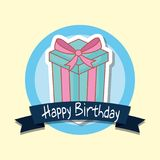 Happy birthday frame with gift box. Vector illustration design Royalty Free Stock Image
