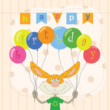 Happy birthday. Frame with laughable hare and bright balloons royalty free illustration