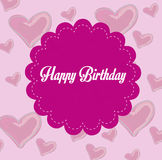 Happy birthday frame. Over pink background vector illustration Royalty Free Stock Photos