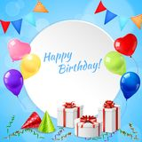 Happy Birthday Frame Realistic. Happy birthday celebration party round realistic frame card with presents cone hats balloons festive streamers vector Royalty Free Stock Image