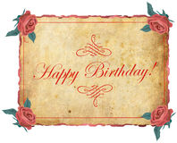 Happy birthday frame with roses Royalty Free Stock Photography