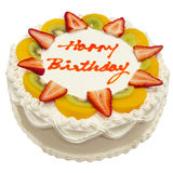 Happy Birthday Fresh Fruit Cake Royalty Free Stock Photography